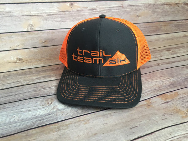 Trail Team Six - Neon Orange and Gray Trucker Hat
