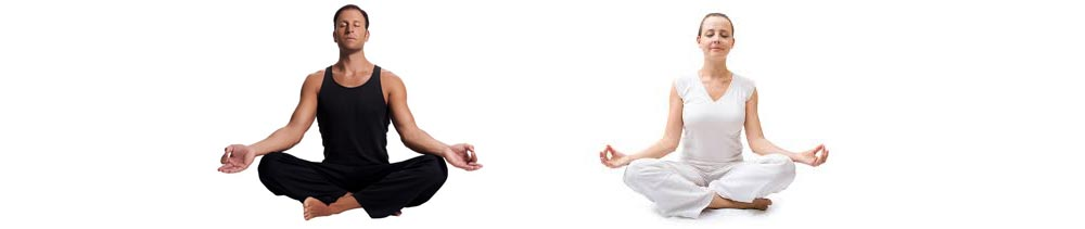 man and women sitting cross legged meditating