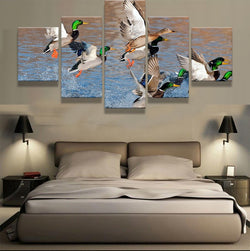 Mallard Ducks Rising from Water 5 Pieces Canvas Print