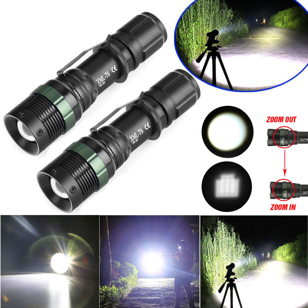 Military Tough Tac 3 Mode CREE 5000 Lumens Tactical Led Waterproof Flashlight +18650 Battery + Charger - Get 2 for Only $19.95