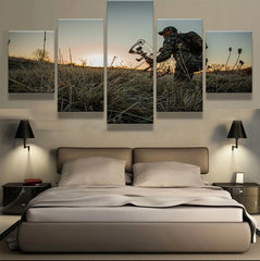 Bow Hunting Early Morning Stalk 5 piece HQ Canvas Wall Art Print - Limited Edition