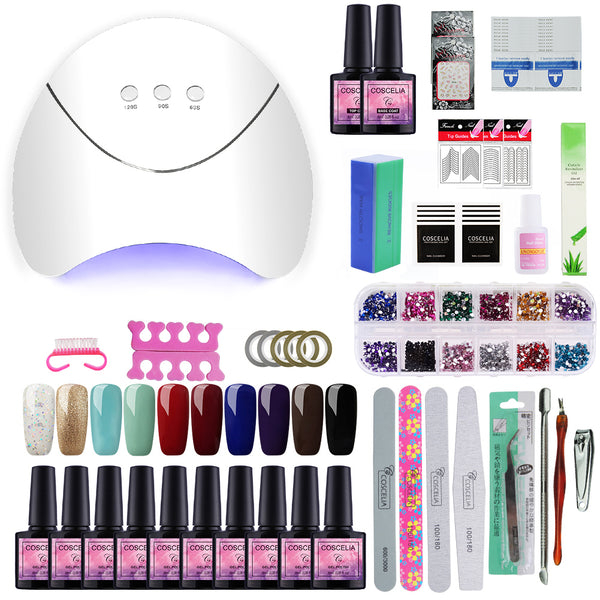 EZMani™ Manicure Pedicure Gel Nail Art Polish Set with UV LED Lamp Dryer
