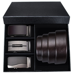Automatic Buckle  Leather Belt Gift Set