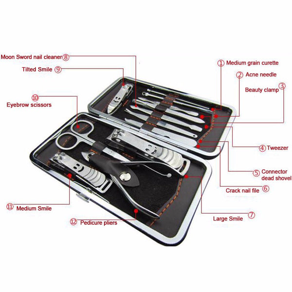 Nail Salon Manicure, Pedicure Kit, Nail Clippers Set  12 Pcs, Professional Grooming Kit, Nail Art Tools with Travel Case