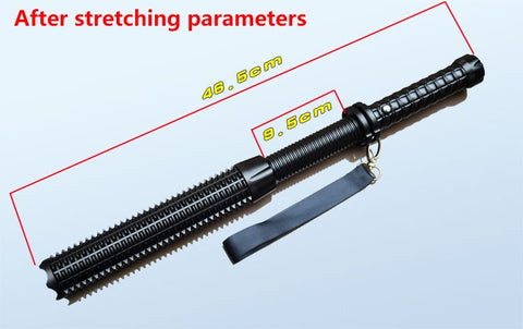 Tactical LED Self Defense Baton Flashlight Night Stick with Batteries, Wall and Car Charger