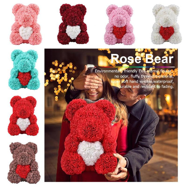 Artificial Flowers Rose Bear