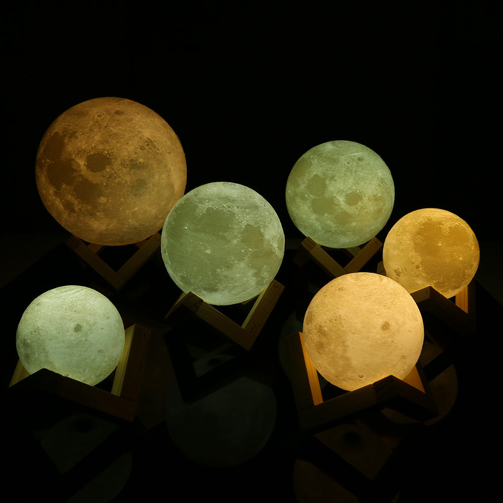 USB Rechargeable 3D Print Moon Lamp- LED Touch Sensor Color Changing Control Dimmable Printed Baby Luna Night Light With Wooden Stand Base