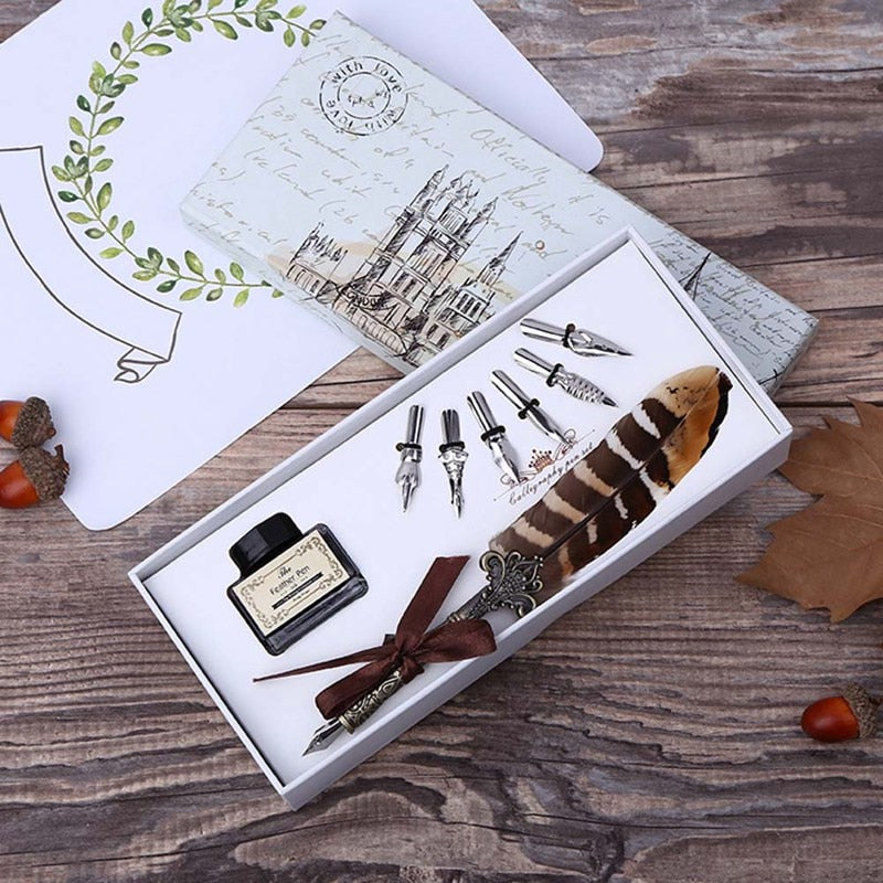 Retro Quill Feather Pen Set