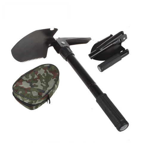 Military Survival Folding Shovel and Pick with Carrying Pouch