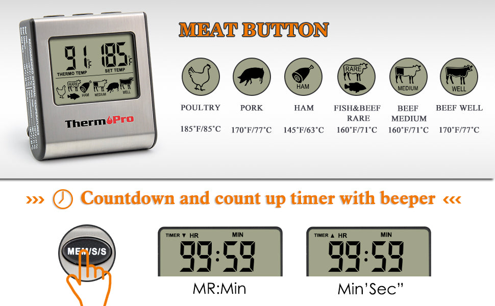 Digital Meat Food Cooking Instant Read Thermometer with Timer