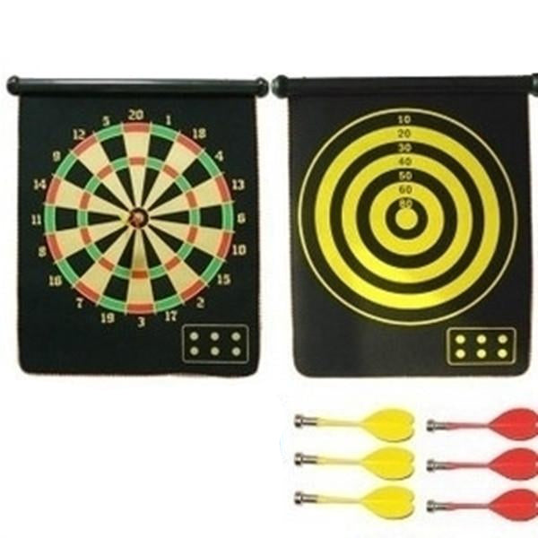 Flocking Magnetic Dart Board  Suit Double-Side Plate With Not Hurt the Wall HOT  with six large safety dart needle