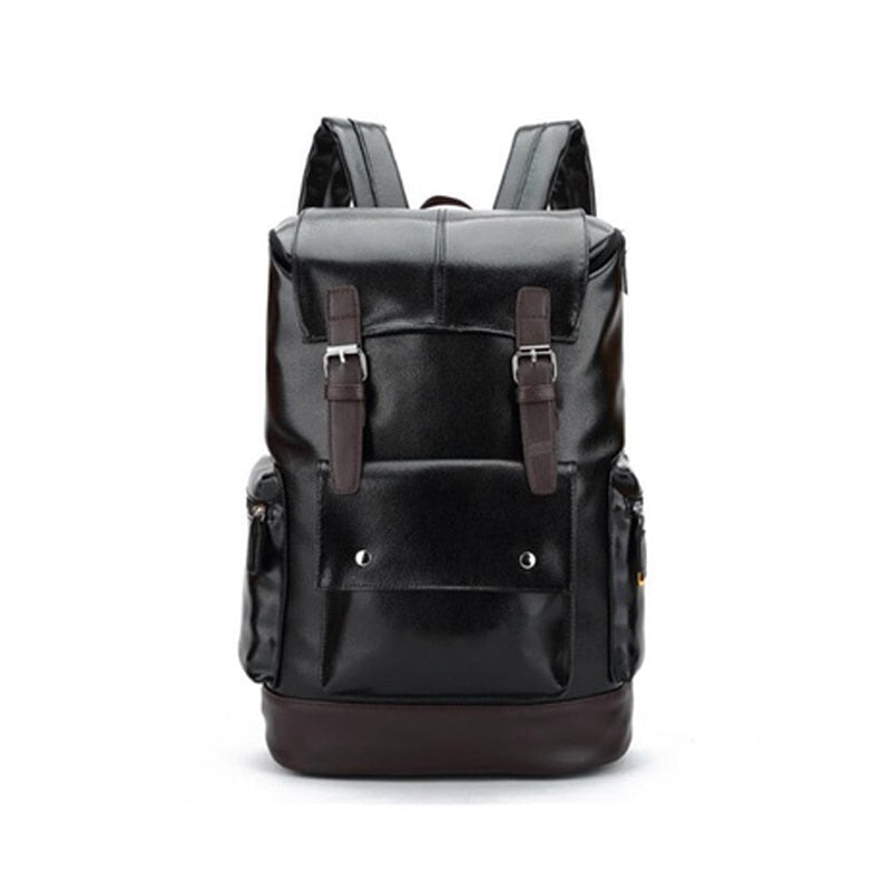 Large Capacity Mens Leather Daypack Leather Travel Backpack