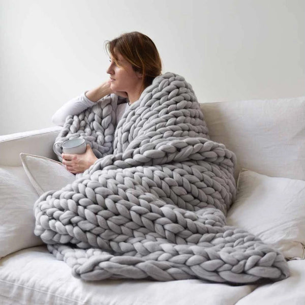 Hand Woven Chunky Knit Throw Blanket