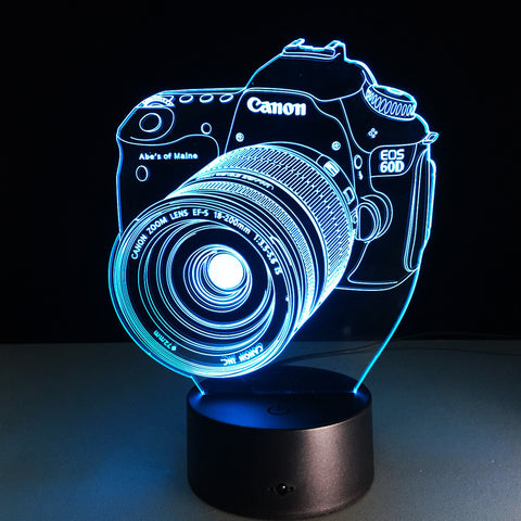 Canon EOS Camera 3D LED Night Light 7 Color Changing Desk Lamp