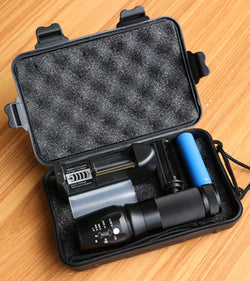 Tactical Waterproof Flashlight with 18650 Rechargeable Battery + Charger