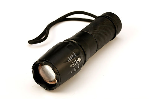 LED 2000 Lumen Tactical Waterproof Zoomable Flashlight with 18650 Rechargeable Battery + Charger