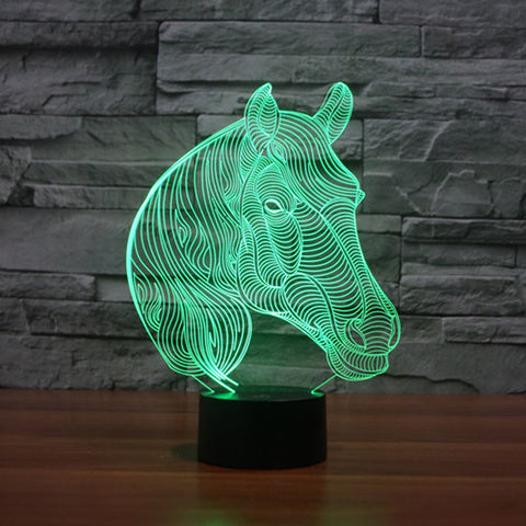 Horse Head 3D LED Night Light 7 Color Changing Table Desk Touch Lamp