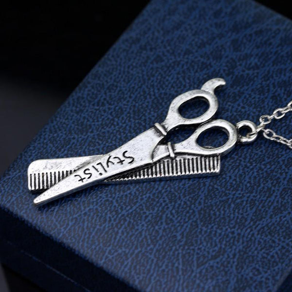 Antique Silver Scissors & Comb Pendant Necklace
