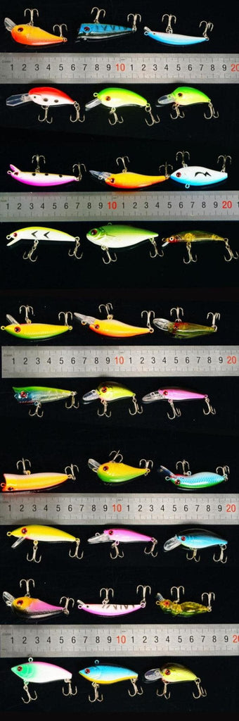 30 pc Bass Fishing Lure Crankbait Set with Poppers, Shallow, Mid and Deep Diving Bombers