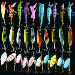 30 Pc Bass Fishing Lure Set with Spinners, Spoons and Crankbaits