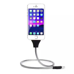 Flexible Stand UP USB Charging Data Cable Phone Charger Palm Bracket Holder For iPhone Android Smartphones