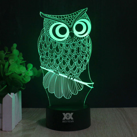 Owl  on Perch 3D LED Night Light 7 Color Changing Desk Lamp