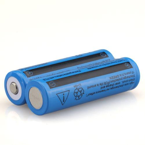4 PCS 18650 3.7V 5000mAH Rechargeable Blue Li-ion Battery For LED Flashlight