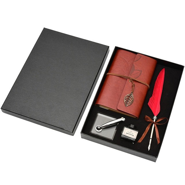 Retro Leather Notebook With Fountain Pen