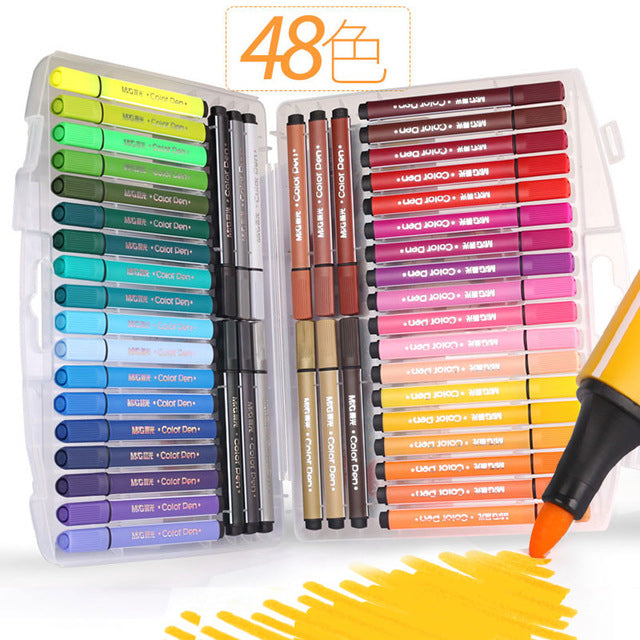Washable Watercolor Marker Pen Set- 24/36/48 Colors Non-toxic for Child Art Markers Artistic Drawing