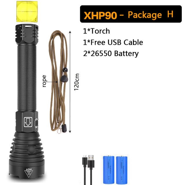 Powerful XHP90 LED Flashlight