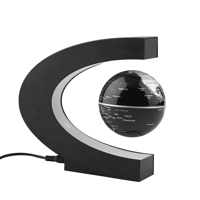 Magnetic Levitation Floating Globe-  C shape Black Blue  Antigravity LED Night Light  World Map Decor, Gift, Home Decoration