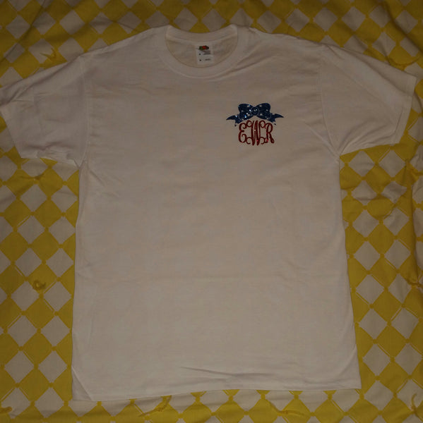 American Flag Bow Monogram T-Shirt