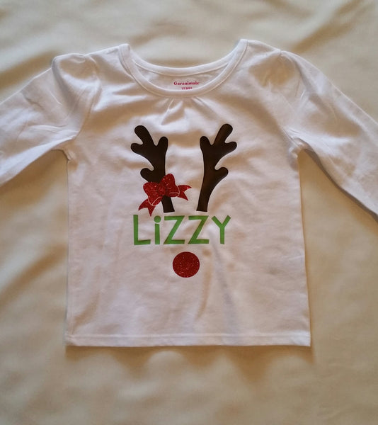 Personalized Reindeer T-Shirt - Christmas Shirt