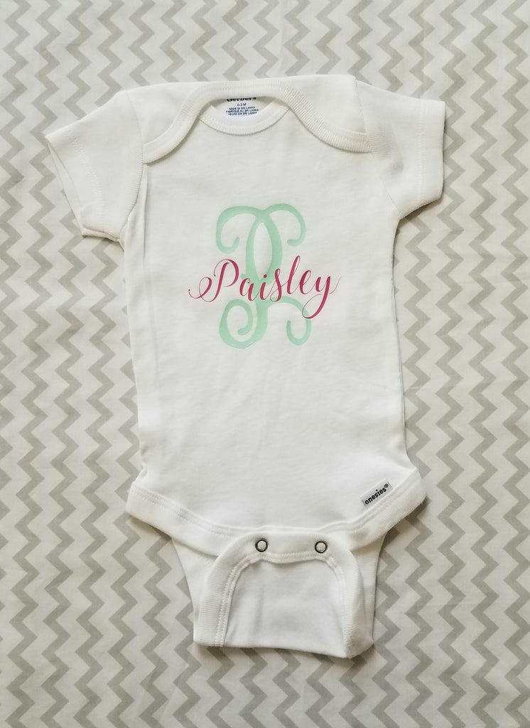 Personalized Onesie with Name and Initial
