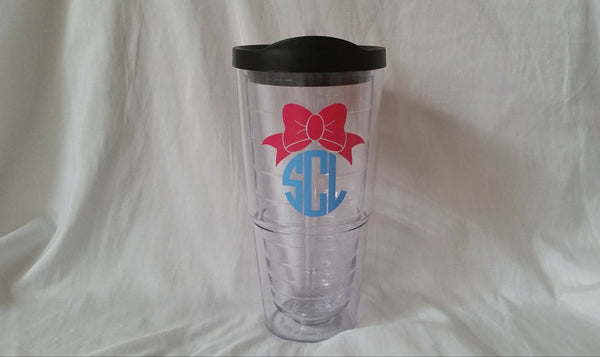 Bow Monogram 24 Oz Tumbler With Straw