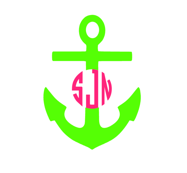 2 Colored Anchor Monogram Decal