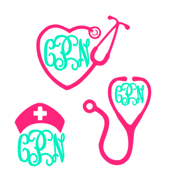 Nurse Decal - Nurse Monogram Decal