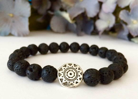 mens beaded bracelet with lava rock and silver tribal sun