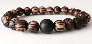 PALM WOOD | LAVA ROCK | MENS BEADED BRACELET | Simply Now And Zen