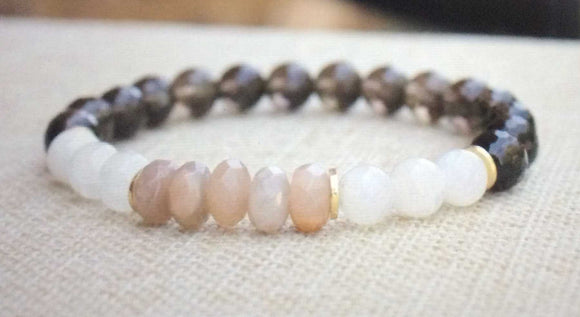 women's beaded bracelet with smokey quartz, snow quartz and sunstone