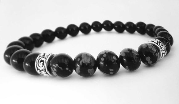 mens beaded bracelet with black onyx and snowflake obsidian