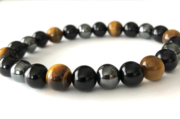triple protection bracelet with black obsidian tigers eye and hematite beads