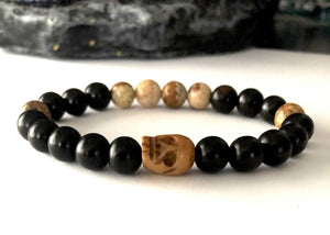 walker skull bracelet with ebony wood and picture jasper beads