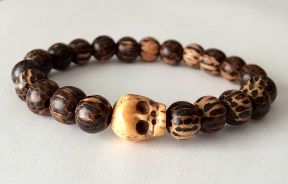 palm wood tibetan ox bone skull mens beaded bracelet