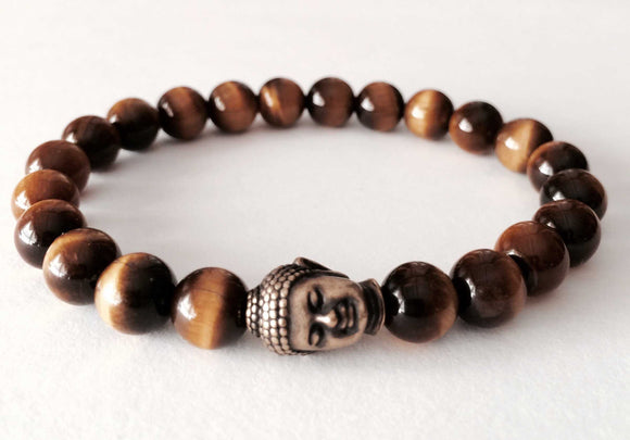tiger eye tibetan buddha beaded mala bracelet