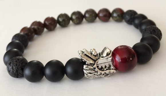 matte onyx dragon blood jasper lava rock silver dragon mens beaded bracelet