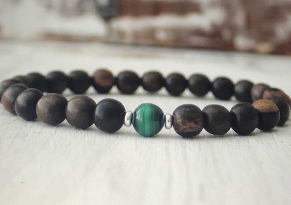ebony wood & malachite mens beaded bracelet