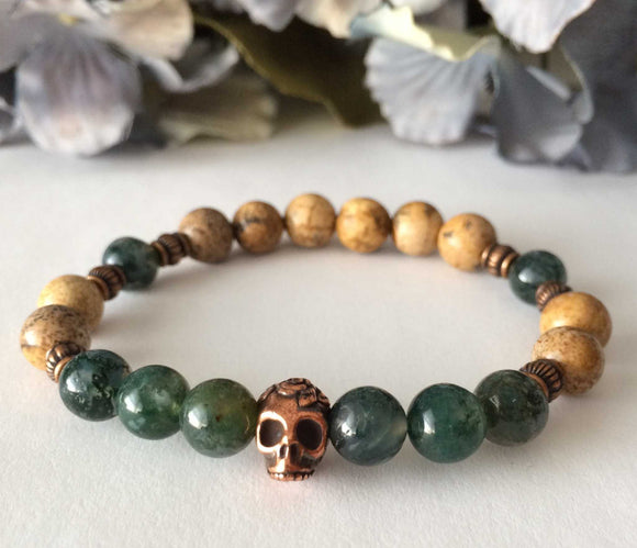 picture jasper moss agate tribal skull mens beaded bracelet
