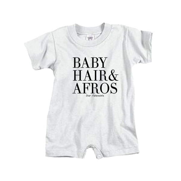 Infant Baby Hair and Afros romper- white and heather gray