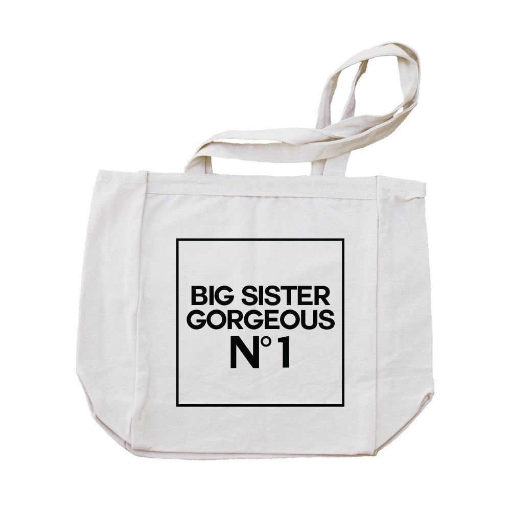 Big Sister Gorgeous One Canvas Tote Bag-Natural